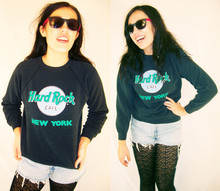 Debi LuAnne - Luanne Vintage Hard Rock New York Sweatshirt, Levi's® Denim Cut Offs - In a constant state of going nowhere