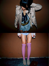 Olivia Lopez - American Apparel Knee Highs, H&M Belt, Forever 21 Short Trench Coat - Damaged Goods