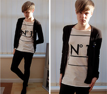 "James T - Primark Customized Black Cardigan, River Island Deep And Wide Neck â""–1, Topman Black Skinny Trousers -  â""–1"