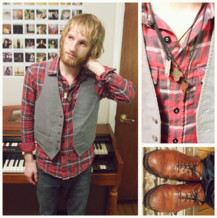 David Reaume - American Eagle Red Plaid Flannel, Dav Thrift Grey Vest, Do It Yourself Antique Charm Necklaces, Bullhead Hermosa Super Skinnies, Salvation Army Thrift Light Brown Oxfords - We've only tasted the wine. We're gonna drain that cup dry.