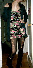 Catie K - Topshop Floral Bodycon, Made 'Em Myself Black Sheer Tights, Black Tie Boots, Blue Knitted Cardigan, Silver Pot Of Gold - Diga me