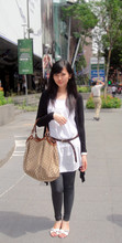 Lady lisa A - Cotton On Body Black Long Cardigan, Zara White Long Shirt, Gucci Oversize Bag, Charles&Keith Studded Sandals, S'pore Brown Belt, Oneandahalf Grey Legging, Guess? Watch - Basicly, it's a perfect weekend..