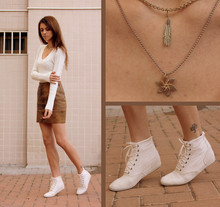 Victoria Y - Feather Pendant, Flower Pendant, Keds Cream Canvas High Tops, (Woah, I Really Took The Description Too Far) Vintage High Waisted Lace Up Leather Skirt - Leaves are changing, you are leaving...
