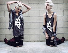 K r i s K i d d - Brian Lichtenberg Sequin Moto Vest, Kill City Zipper Jeans (Black), Kill City Bl Futuristic Logo Distressed Tank, Dr. Martens Doc (Cherry) - Look at us, but do not touch