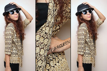 Pat Dela torre - Thrifted Golden Laced See Through Blazer - Lulu Lost Her Golden Tooth