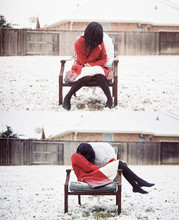 Bao N - Strawberry Dotted Trench, Urban Outfitters Off White Dress, Black Tights - Snowstorm