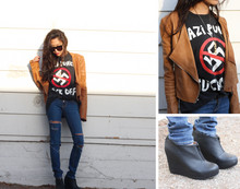 Christine L. - Vintage Nazi Punks Fuck Off Tshirt, Jeffrey Campbell 99 Zip, I Designed It Caramel Leather Jacket - NAZI PUNKS F*CK OFF