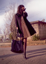 Rhiannon Leifheit - Anthropologie Coat, Estate Sale 1960s Dress, Thrift Store Bag, Tabio Polka Dot Tights - Oakland Cemetery and a birthday coat