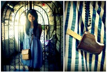 Alex E. - Blue And White Dress, Vintage Bag, Chocolate Ice Cream Necklace - If you ever change your mind about leaving, leaving me behind..