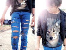 Edy Koeswito - Zara Jacket, Guess? Wolf Tee, Mango Jeans, Konica Lomo Camera - My first look with my wolf !!!