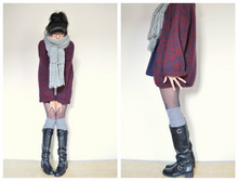 Annabel Ly - Zara Oversized Scarf, Evan Picone Oversized Sweater, Anthropologie Zipper Boots - Drowning in sweaters