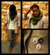 Tariq S. - American Apparel Circle Scarf, Thrift Blazer, Uniqlo Grey Denim, Clarks Desert Boot, Connoisseurs Pins - Unthawed