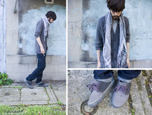 Tony Stone - H&M Knitted Cardigan, Brother's Scarf, Calvin Klein Denim, Vans Marcjacobs X Chukka - Grey or Gray.