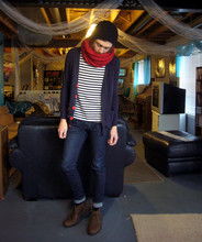 Michael C - H&M Sailor Shirt, American Apparel Navy Cardigan, H&M Red Knit Scarf, Levi's® Levi's 510, Clarks Desert Boot - Cuddle Fuddle
