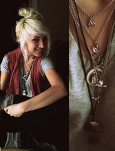 Jessi Towell - Mackinac Island Wolf Necklace, Antique Market Cherokee Necklace, Thrift Pink Cableknit Vest, Walmart V Neck, Forever 21 Dark Skinnies, Kohls Ankle Boots, Grey Socks, Forever 21 Bird Charm Necklace - Snowed In & Au Naturel