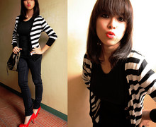 Louise Buenaobra - Topshop Black & White Cardi, Fendi Noe Bag, Chatuchak Red Pumps - The Mime in me