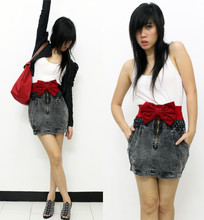 Winnie Isk - Plopherz Laced Cropped Blazer, Longchamp Foldable Tote, Charles N Keith Cage Heels, Vintage Red Bow Belt, Mango White Basic Tank - I can do really bad. but i prefer sweet