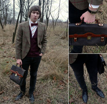 Sergey Tomkovich - Konev Brief Case, Second Hand Coat, Topman Cardigan, Dolce Gabbana Shirt, Second Hand Jeans, Second Hand Shoes - I love beatles