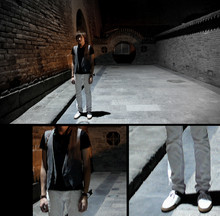 Leon L. - Dior Homme Leather Sneakers, Massimo Dutti Watch, Giorgio Armani Leather Wrist Belt, Comme Des Garçons Vest, C'n'c Black Slim Polo, C'n'c White Slim Pants - Lost in the Forbidden City.