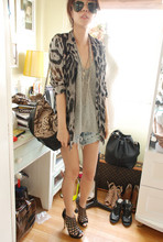 Ployy B - Ployy Top, Random From Bangkok Blazer, Boyy Bag, Dry Clean Only Studded Shorts, Topshop Heels - Tiger and Snake