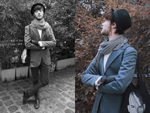 CLEMENT LOUIS . - H&M Black Hat, Zara Stripes Scarf, Frip Blue Vest - Blue Orchid. Clément Louis.