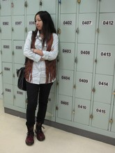 Fumiko Chan - Cotton On Shirt, Billabong Vintage Vest, H&M Jeans, Dr. Martens, Vintage Bag - NEW