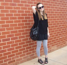 Maddison K - Groove Round Black Sunglasses, Avocado Black Oversize Batwing Knit Top, Sportsgirl Black Handbag, Supre Black Singlet Dress, Supre Grey Tights, Target Black Cage Style Sandals - What I want's right here with you