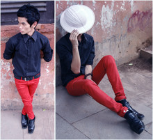 Agung Tresna - Kota Tua's Own White Hat, Manly Black Simple Shirt, Koi Store Red Hot Skinny Jeans, Robelli Black Shoes - My Head Goes Wrong By Noise!