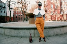 Kennedy Holmes - Urban Outfitters Brown Oxfords, Vintage Hair Bow, Vintage White Fur Stole, Energie Grey Turtleneck, Vintage Mustard Pants, Vintage Brown Leather Bag - An exercise in lipstick