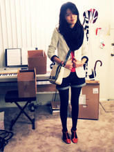 Nancy Qian - American Apparel Circle Scarf, Kate Spade Shoulder Bag, A.P.C. T Bar Shoes, Urban Outfitters Blazer - Shopping...Boxes
