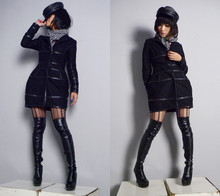 Lando Li - Leather Hat, Houndstooth Scarf, Design N Made By Myself Black Coat With Strip Leather, Leather Boots - Coat made by myself :)