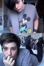 Charlie Casey - Disney Land Mickey Mouse Top, Topman Leather Studded Wrist Cuff, Custom Necklaces, Topman Black Coated Skinny Jeans, River Island Black Leather Boots, Topman Alligator Ring - Save the planet, kill yourself.