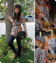 Jessica Tran - Thrifted Amazing Amazing Jungle Print Shirt, Thrifted Black Belt, Thrifted Fake Glasses Lol, Valleygirl Feather Sequinned Headband, Thrifted Balck Satchel, American Apparel Black Eel Shiny Leggings - If you're from Africa...