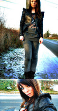 Stella Knigge - Miss Selfrige Jacket, New Look Motorhead Top, Trims Jeans, River Island Boots - I live in England now :)