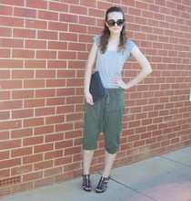 Maddison K - Groove Round Black Sunglasses, Cotton On Grey Shirt, Markets Black Clutch, Living Doll Khaki Harem Style Pants, Expression Black Gold Zip Heels - From the moment i say goodbye, i miss you