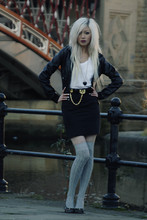 Emma Summer - Shoes, H&M Leather Jacket, Tshirt, Topshop Heart Necklace, Topshop Belt, Skirt, Over Knee Socks - This time last year