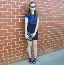 Maddison K - Groove Round Black Sunglasses, Sportsgirl Patterned Dress, Markets Black Clutch, Target Black Cage Style Sandals - He called it Degrassi High