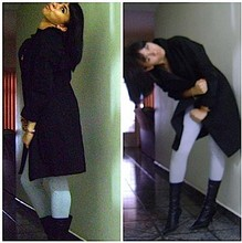 Camila Ferreira - Black Coat, Grey Leggings, My Favourite Boots - Merry Christmas!