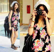 Abbie Almasco - Forever 21 Beanie, Topshop Floral Printed Playsuit, Topshop Fringe Leather Bag, Topshop Gladiators, Forever 21 Necklaces, Mom's Horseshoe Necklace - Flower Girl