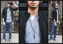 Simon Malvaez - Urban Outfitters Necklace, Forever 21 Jacket, American Apparel Shirt, Converse Shoes - I had a bullet with your name on it. Click Click.
