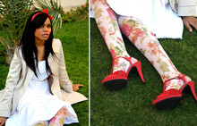 Nia B - Koton Trench Coat, St. Vincent White Dress, Forever 21 Flower Print Stockings, Nine West Red Shoes - Sweet Dreams