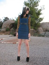 Mollie Paige - Rodarte Leopard Dress, Forever 21 Cut Out Denim Dress, Office Creeper Heels, Forever 21 Round Sunglasses - I'd serve you drugs on a silver plate if I thought it would help you get away