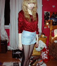 Kayla Hadlington - Vintage Velvet Top, Topshop Shorts, Topshop Two Tone Tights - Im looking happy
