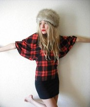 FAYE Q - Vintage Plaid Shirt, Vintage Fur Hat, American Apparel Black Skirt - Little birdy