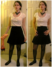Mara C - Hot Topic Necklace, Heritage 1981 Shirt, Forever 21 Skirt, Faux Fishnet Pantyhose, Forever 21 Lace Ballet Slippers - Guts