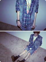 Micah Alhadeff - Docs, Plaid Shirt, Jean Jacket, Virgin Shirt - Shazzzzzzam.