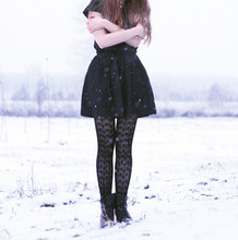 Nishe * - Simple Black Top, Diy Skirt, It Ties In A Bow At The Waist, Somewhere Online Tights, H&M Boots - Wiw to get cold