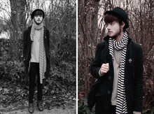 "CLEMENT LOUIS . - Zara Marin Stripes Scarf, H&M Black Hat, Loft Design By Grey Tshirt, Black Velvet Slim, Frip Brown Boots - ""Pluie d'Hiver"" - CLEMEN† LOUIS."