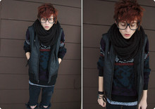 Micah Alhadeff - Goodwill Sweater, Standard Cloth Leather Vest - Big frames.