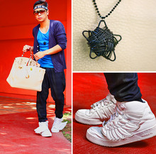Dennis Robles - Jeremy Scott Wing Hightops, Hermës Ivory 40cm Birkin, Topman Navy Cardigan, Topman Blue Sando, Louis Vuitton Evidence Sunnies, Gift Star Necklace, Zara Plaid Harems - New year's resolution
